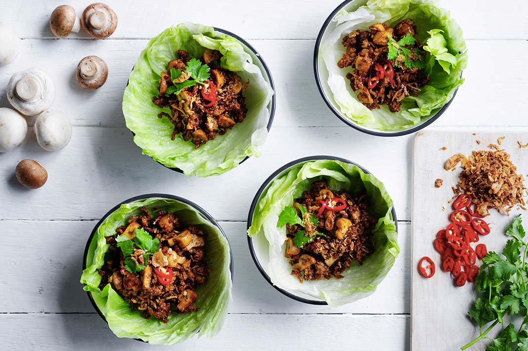 Tweak This Sticky Mushroom & Pork San Choy Bao Recipe For Meatless Monday