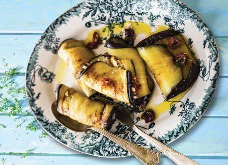 Vegetarian Recipe: Eggplant Rolls With Feta, Olives & Sundried Tomato