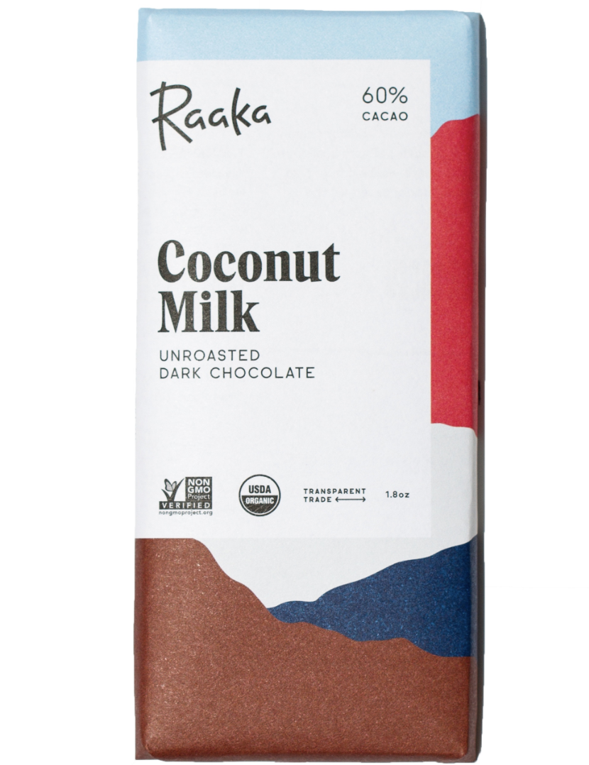 best vegan chocolates, raaka coconut milk dark chocolate