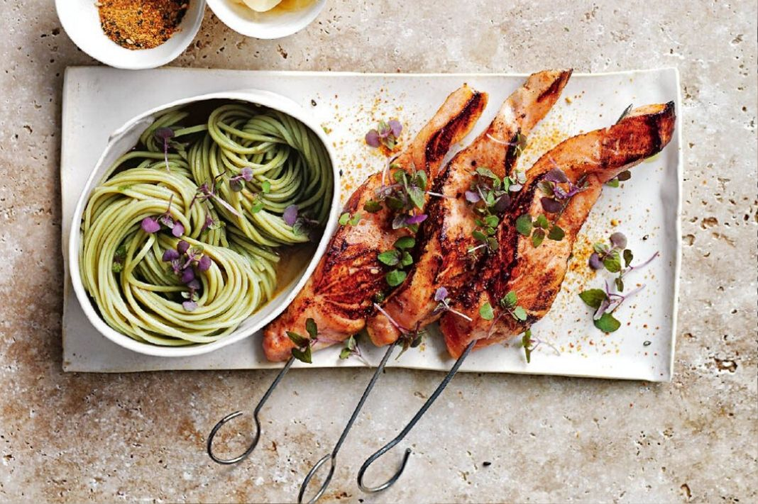 Antioxidant Recipe: Seared Salmon Skewers with Green Tea Noodles